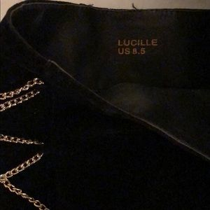 JustFab Shoes - Lucille boot, faux suede, gold chains and heels.